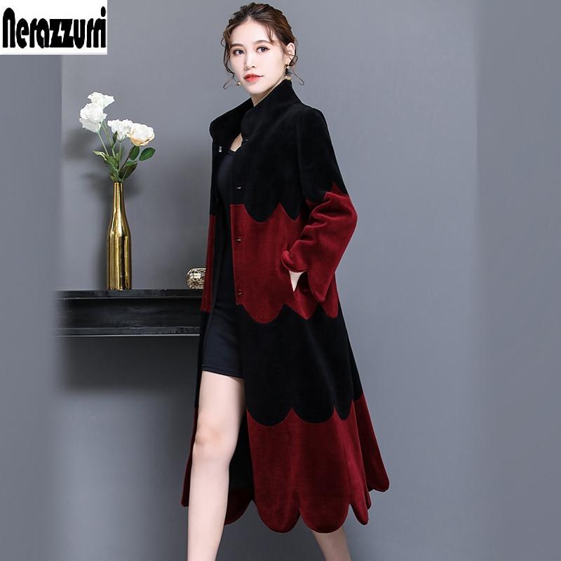 Nerazzurri Real de piel de abrigo largo de invierno mujer oveja natural abrigos de piel de las mujeres patchwork esquilada piel de cordero abrigo plus tamaño 5xl 6xl