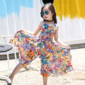 2017 Nueva Bohemia Viento Niños se Visten Las Niñas Vestido de Verano Floral Amplia Pantalones Mono