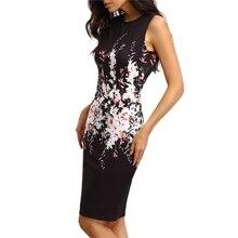 Sleeveless Round Collar Package Hip Printing  Floral Dress Elegant Ladies Office Party Sleeveless Slim Sheath Bodycon Dress цена