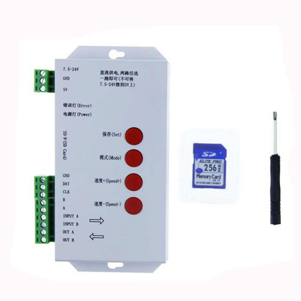 T 1000s Controller Led Full Color Programmable Pixel Controller Sd Card Controller For Ws2811 2801 2812 With 256mb Sd Card
