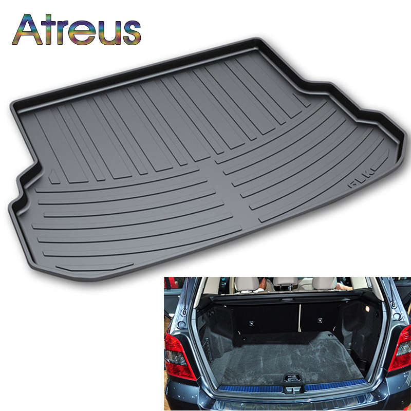 Atreus Car Rear Trunk Floor Mat Durable Carpet For Mercedes GLK class X204 2008-2014 Boot Liner Tray Waterproof Anti-slip mat trunk mat for ford mondeo 2008 2014 durable waterproof luggage mats tray for dogs
