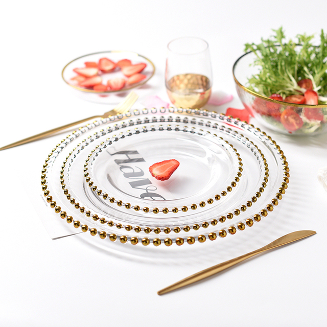 Nordic Gold Bead Glass Charger Dinner Plated Dish Decorative Salad Fruit Wedding Plate Dinner.jpg 640x640 - dinnerware - Nordic Gold Bead Glass  Wedding Plates