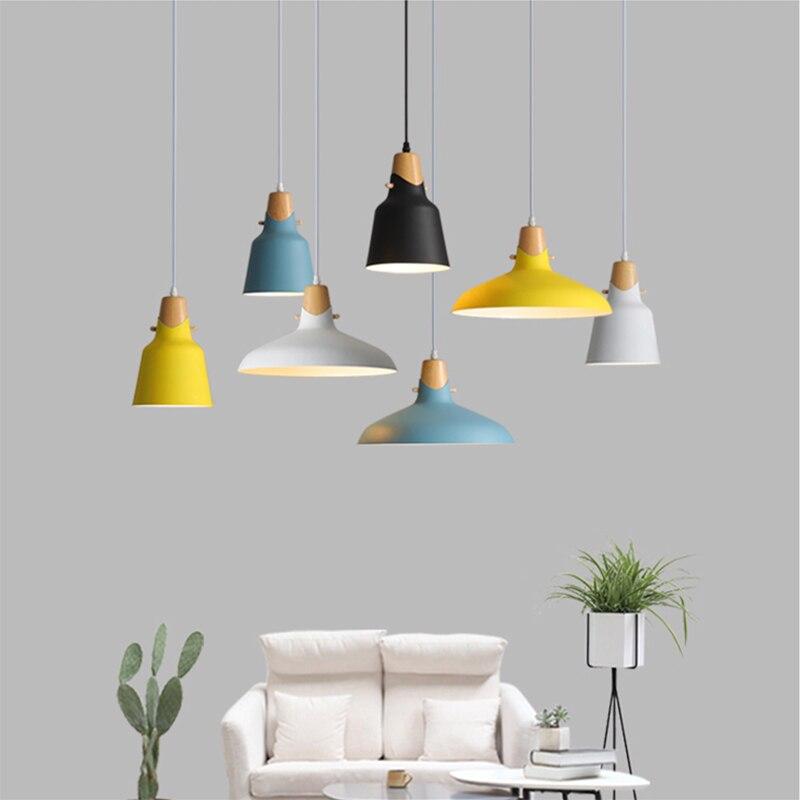 Simple Modern pendant ceiling lamps E27 Wood Aluminum Pendant Lights Home restaurant decoration lighting lamps Nordic