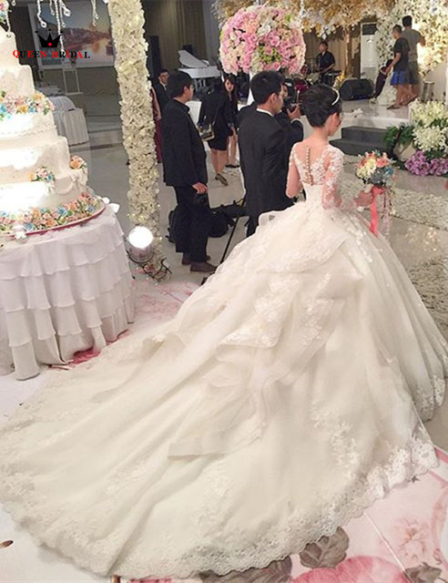Custom Made Ball Gow Lace Beading Flowers Real Photos Wedding Dresses Bride Wedding Gowns Marriage Vestido De Noiva DR28