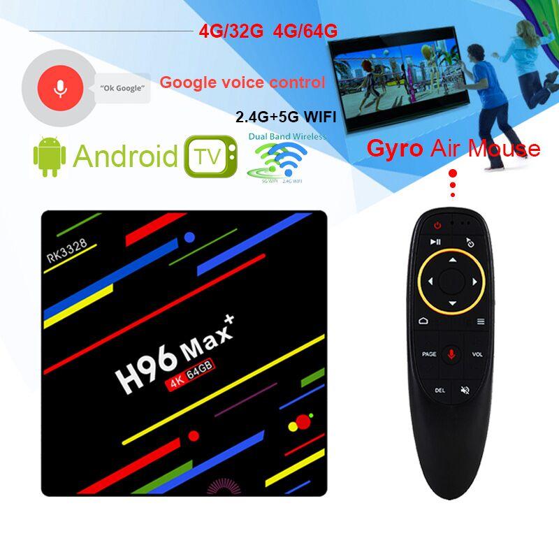 H96 MAX плюс RK3328 Android 8,1 ТВ коробка 4 ГБ Оперативная память 64 ГБ ROM4K Декодер каналов кабельного телевидения 2,4 г/5 г Wi-Fi H.265 pk h96 pro h96 max h2 h96 max +