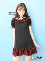 Prinzessin sweet lolita kleid Der zirkus Rote und schwarze streifen dot spitzenkleid zu senden led seil Dolley-0034