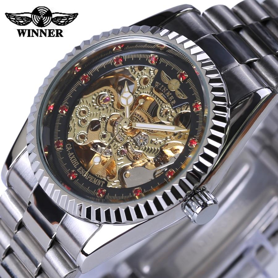 font b Winner b font Watch Women Fashion Mechanical Ladies Dress Wristwatch Red Diamond Design