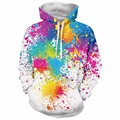 Paint Splatter Print Long Sleeve Pullover Hoodie Outerwear Men Women Fashion Pocket Hooded Sweatshirts Hipster 3D Hoodies