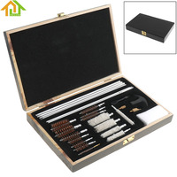 28pcs Cleaning Tools Aluminum Rods Wooden Box Tube Brush with Cotton And Wire Brush