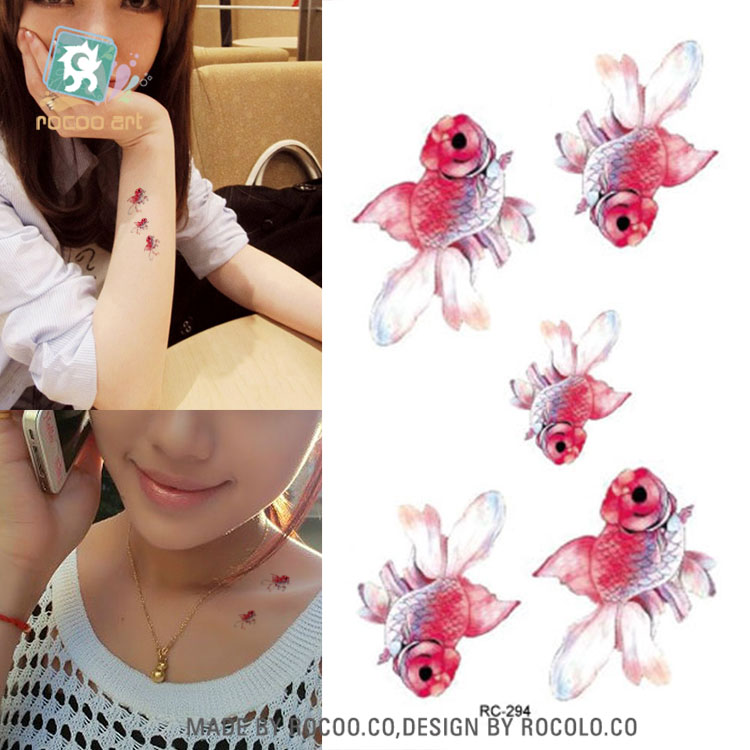 RC-294 Flash Fake Tattoo Women Sexy Arm Waist Women Water Transfer Tattoo Sticke Waterproof Temporary Tattoo Sticker Golden Fish