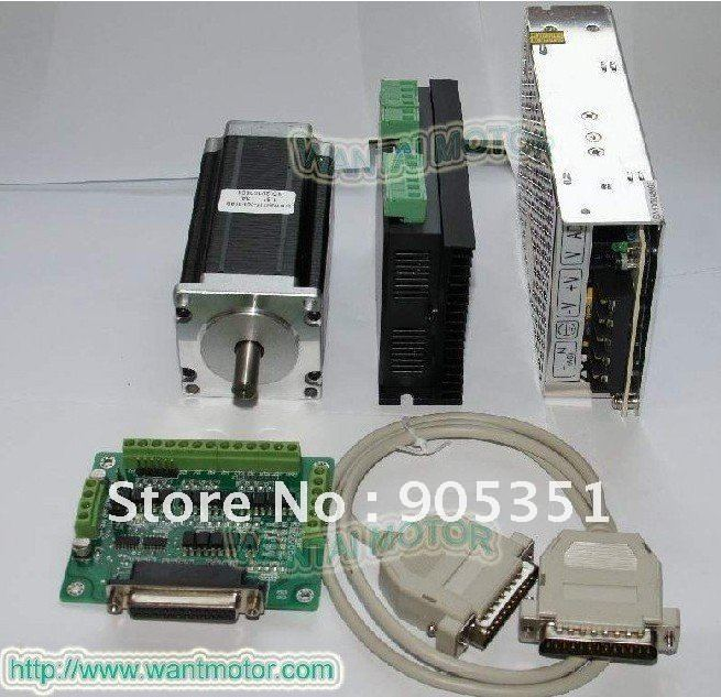 High Torque--ONE Axis-- Nema23 Wantai Stepper Motor 428oz-in ,Dual Shaft ,3A ,57BYGH115-003B & Driver & Power CNC Cutting& Mill usa free ship 3pcs nema23 wantai stepper motor 428oz in 57bygh115 003b dual shaft 3a