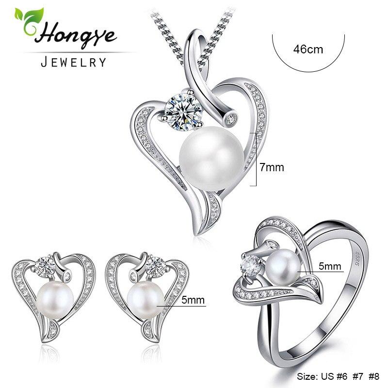 Hongye Romantisches Herz Sterling Silber Schmuck Set Perlenkette & - Edlen Schmuck - Foto 4