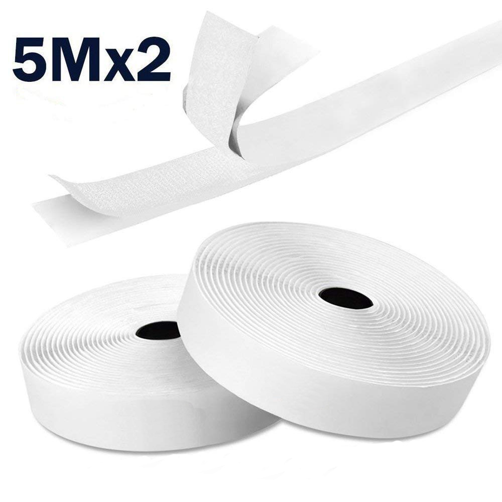Groves 20mm or 50mm Black or White Hook and Loop Tape Sew On Or Stick On