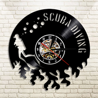 Scuba Diving Wall Clock Modern Design LED Clocks with 7 Different Clocks Mute Classic Vinyl CD Record Wall Watch Home Decor