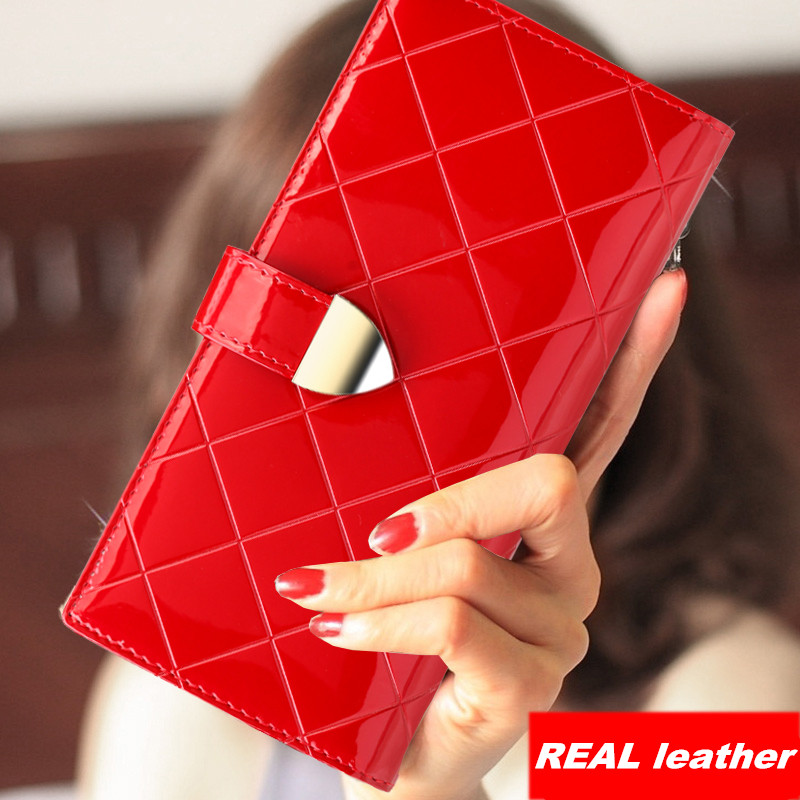 Luxury 2017 New Korean Fashion Ladies Purse Red and Black Patent leather women wallets Genuine leather women clutchs