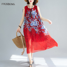 FTGSDLONG Summer Plus Size Chiffon Dresses Women O Neck Casual Loose Dress 2019 Vintage Sleeveless Dress Floral Print Mid Calf цена