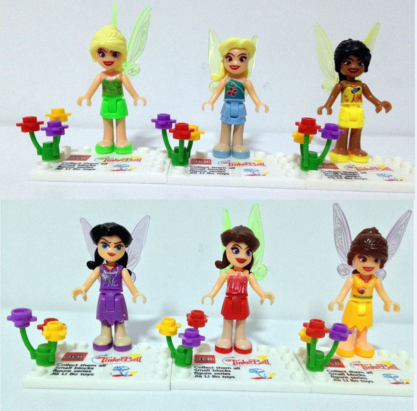 6New Girls Fairies Tinker Bell figures building block toys Princess baby - Dina Toy INC Store store
