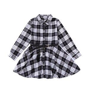 Image 5 - Elegant Girls Casual Long Sleeve Plaid Shirt Dress With Belt Fashion Teenager Blouse Dresses 4 5 6 7 8 9 10 11 12 13 Years Old