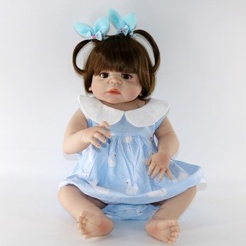 23'' bebes reborn alive bonecas handmade Lifelike Reborn Baby Doll Girls Full Body Vinyl Silicone NPK DOLL child gift