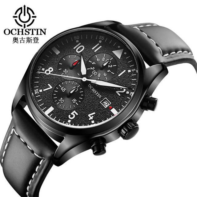 OCHSTIN Brand New Fashion Casual Man Male Chronograph Clock Military Army Sport Leather Strap Luxury Elegant Wrist Quartz Watch