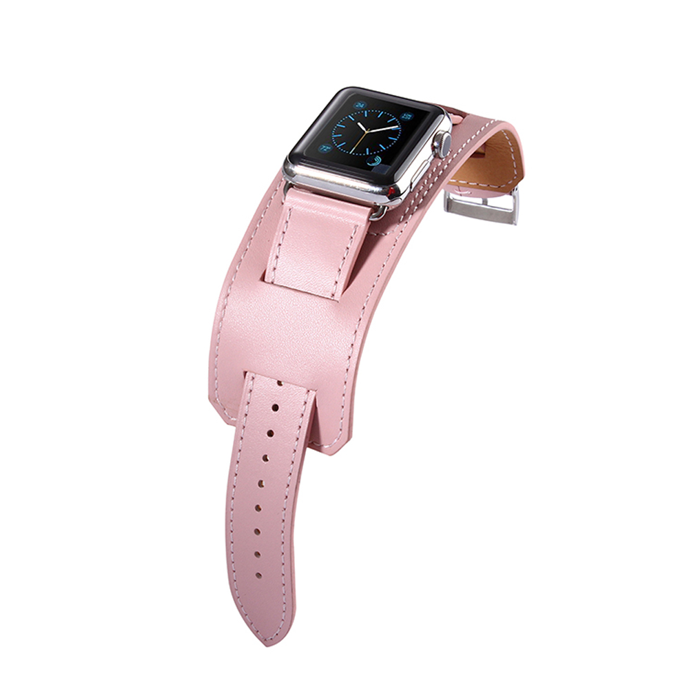 38mm 42mm Brand Luxury Genuine Leather Cuff Bracelet Watch Band Belt Strap  For Apple Watch Black
