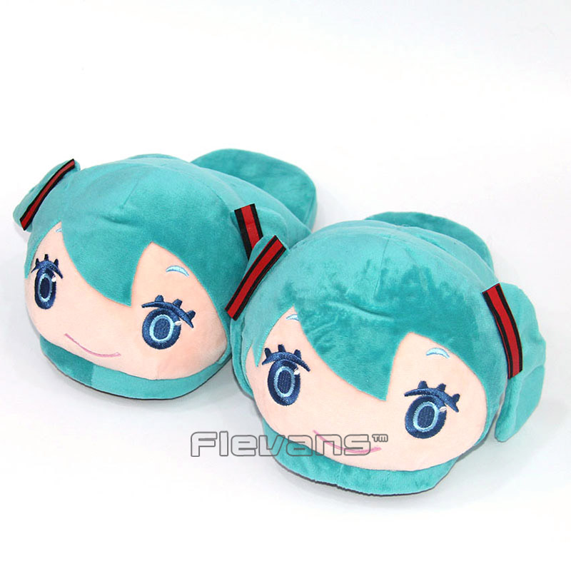 Hatsune Miku Plush Slippers Anime Cartoon Soft Toys Home House Winter Indoor Shoes