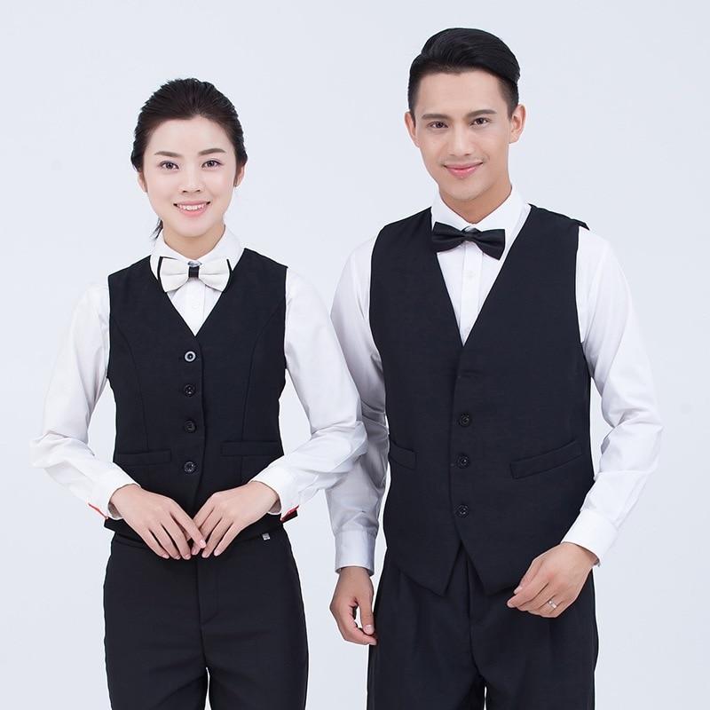 Hotel Waitress Vest Uniform Women KTV Bar Billiard Overalls Restaurant Uniforms Catering Dining Waiter Horse Clip Workwear H2391