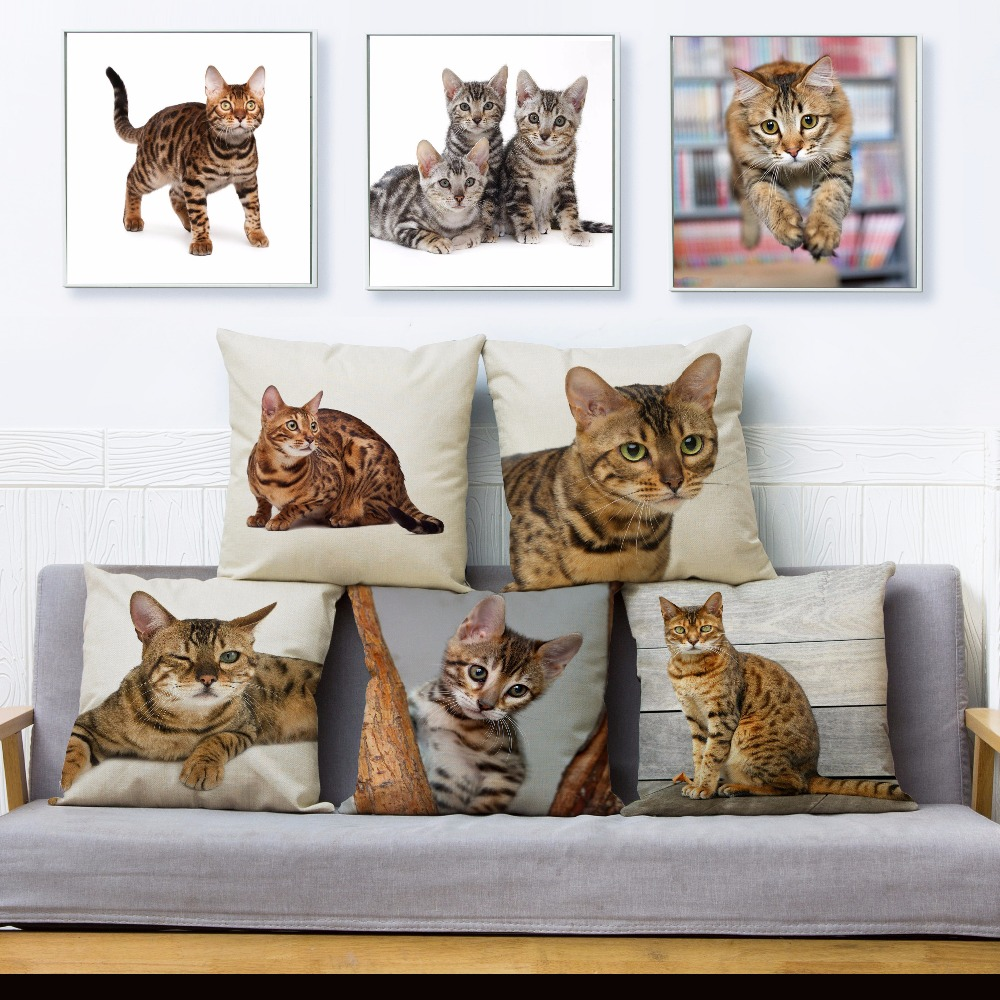 Cute Bengal Cat Print Pillow Cover 45*45cm Square Cushion Cover Beige Linen Throw Pillows Cases Sofa Home Decor Cushion Covers