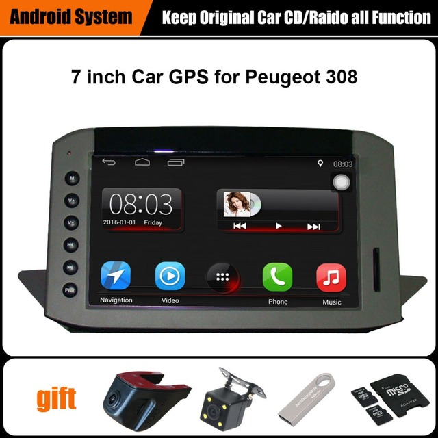 US $345 0  Upgraded Original Car multimedia Player Car GPS Navigation Suit  to Peugeot 308 Support WiFi Smartphone Mirror link Bluetooth-in Car