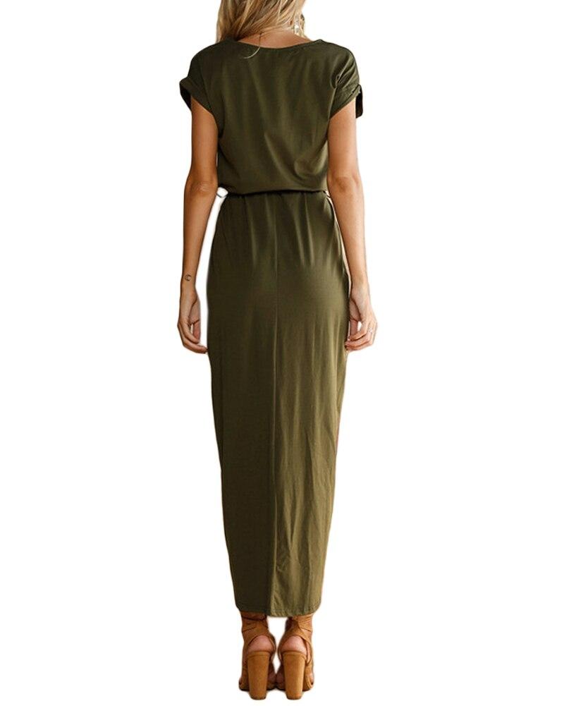 243d1d91ad8 Summer Women Maxi Dress O Neck Short Sleeve High Split Wrap Dress  Asymmetrical Belted Casual Solid Boho Long Dress Vestido Longo-in Dresses  from Women s ...