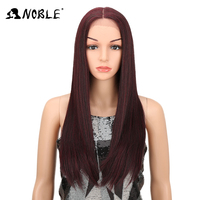 Noble Lace Front Wig 28 Inch Long Straight Black Red Ombre Blonde African American Synthetic Lace
