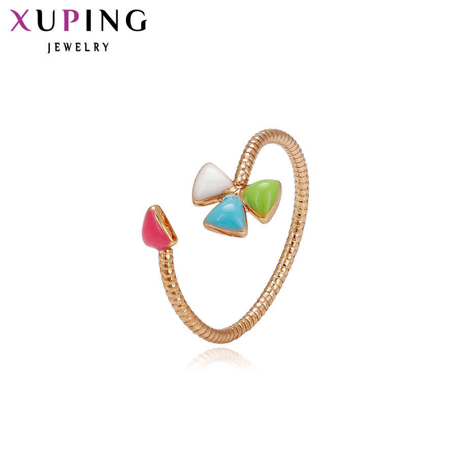 Xuping Fashion Desain Khusus Cincin untuk Wanita Kualitas Tinggi Warna Emas Berlapis Perhiasan Hadiah Natal 12713