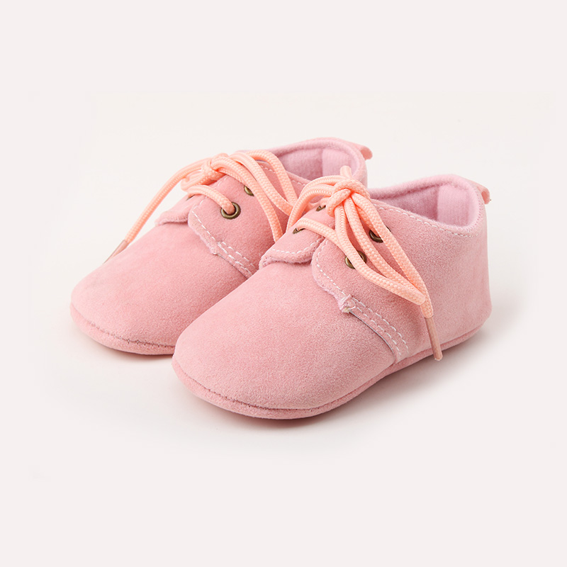 Delebao Solid Lace-Up Baby Girl Shoes First Walkers Bow Tie Soft Sole Baby Shoes For 0-18 Months