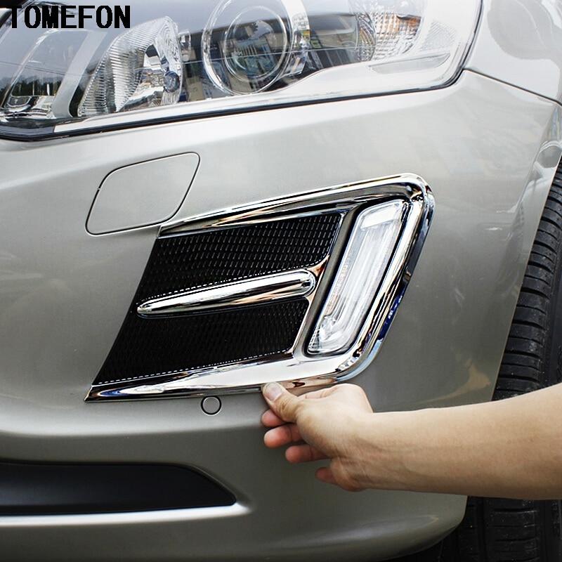 TOMEFON עבור וולוו XC60 2014 2015 2016 ABS Chrome הקדמי אחורי ערפל אור כיסוי Trim מסגרת סטיילינג אביזרים חיצוניים אוטומטי
