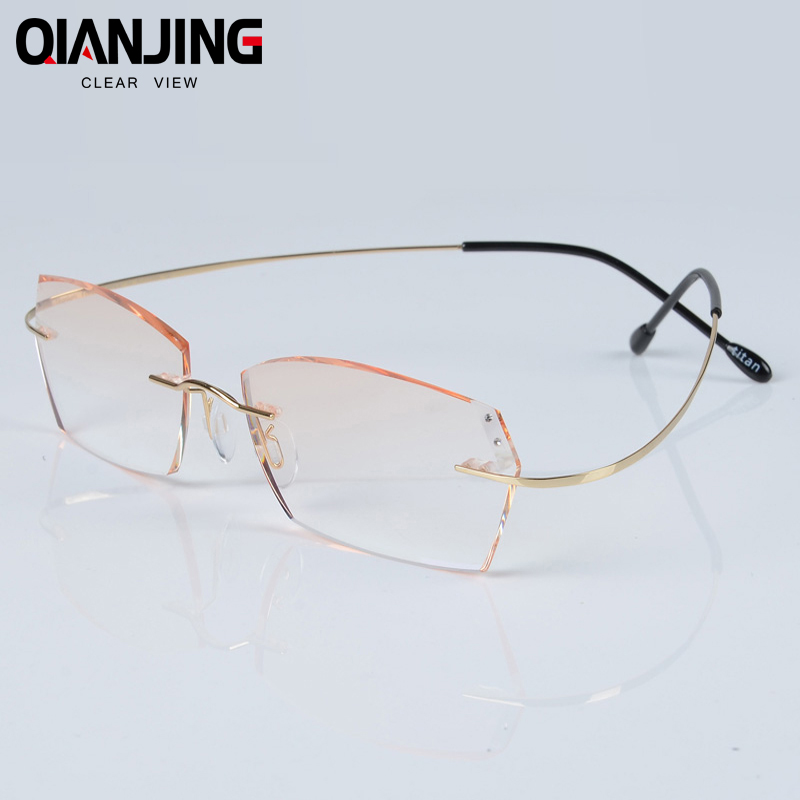 QIANJING Luxury Rhinestone Reading Glasses Men Diamond Cutting Rimless Glasses High Clear Women's Readers Presbyopic Eye Glasses