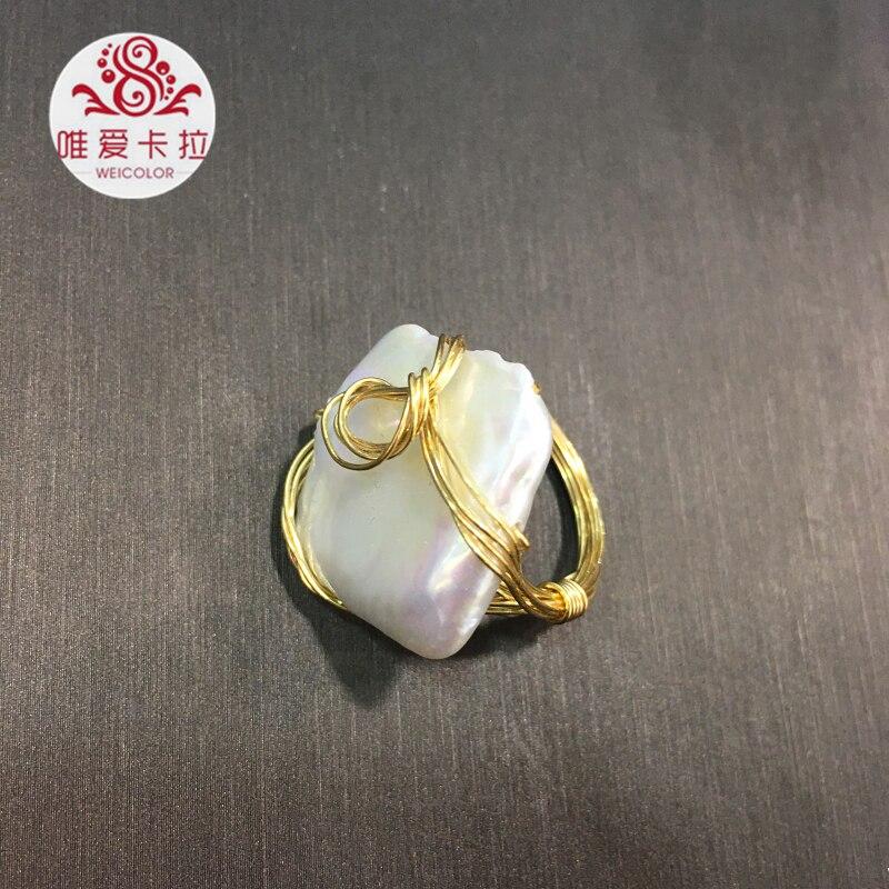 WEICOLOR bricolage Design fait main Ring.15 20mm blanc naturel carré perle d'eau douce sur or mélangé. Contact pour taille en diamètre. - 5