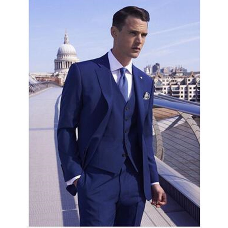 Custom Made Handmade 3PCS Royal Blue Mens Suit Tuxedos Grooms Suits Wedding Suis Formal Party Suits