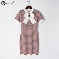 JOYDU 2017 Luxury Brand Runway Dresses For Women Summer Short Sleeve Knitted Mini Plaid Bandage Dress