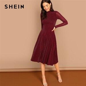 Image 3 - Shein borgonha indo para fora mock pescoço gola de manga longa glitter ajuste alargamento a linha vestido outono workwear vestidos femininos