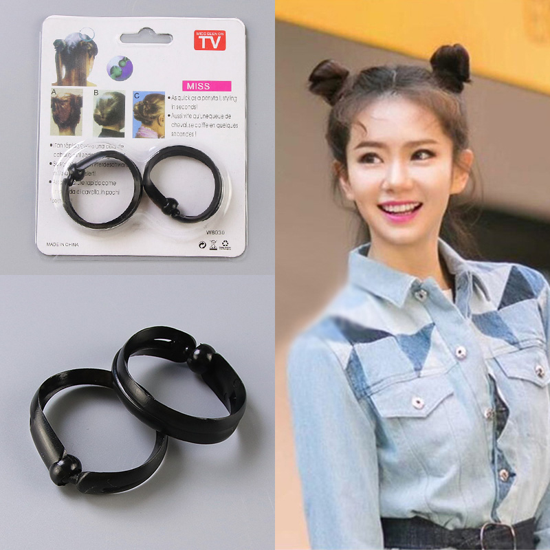 купить 1set=2PCS New Magic Hair Quick Maker Hair Band Bud Round DIY Updo Donut Hair Styling Tools Headband For Women Hair Accessories недорого