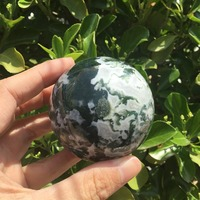 Polished Natural Moss agate sphere quartz crystal ball