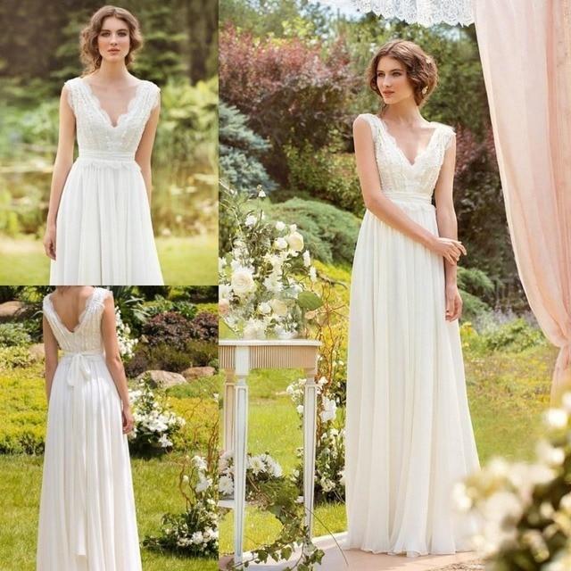 Lace V-Neck Floor Length Chiffon Wedding Dress