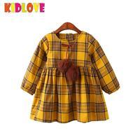 KIDLOVE Yellow Plaid Children Dress Baby Girl Long Sleeve Fur Ball Bow Design Casual Cotton Dress