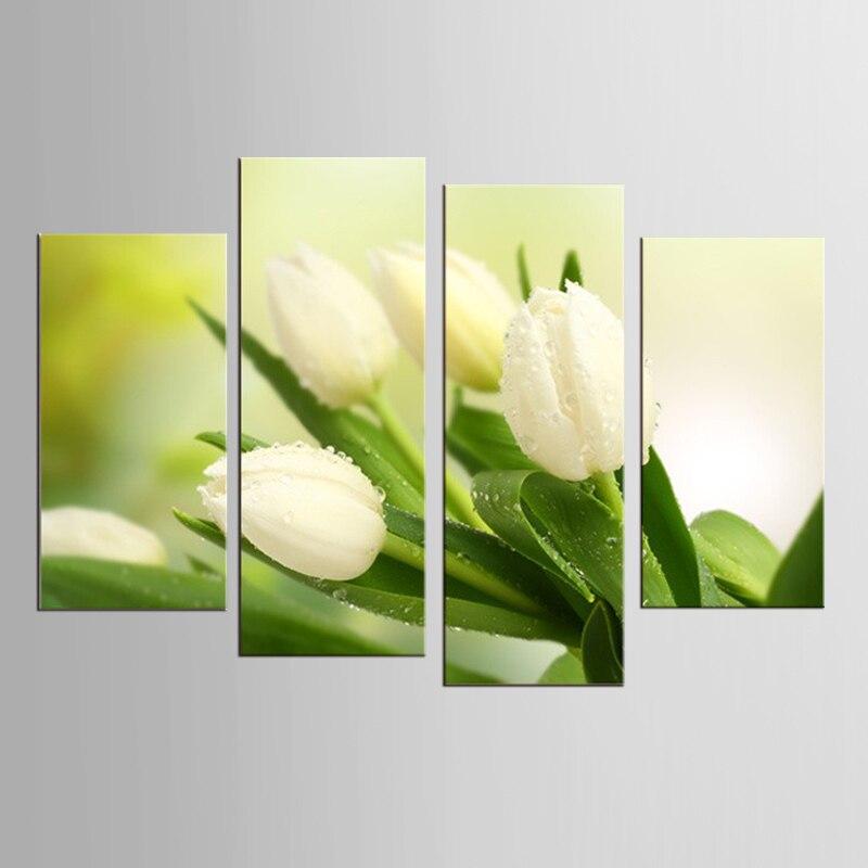 Moderno lirio Flores pinturas lienzo Art Print Poster, Nordic Green - Decoración del hogar