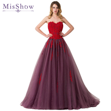 2017 sexy Evening Dress Red Applique Tulle With Beadings Gown Sweetheart Formal Dresses Evening Wear Imported Party Prom Dresses