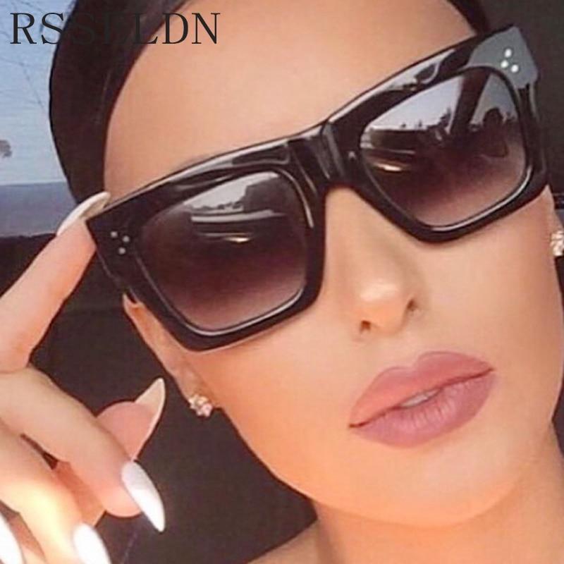 RSSELDN Pink Yellow Fashion Square Sunglasses Women Brand Designer Clear Lens Rivet Sun Glasses Female Retro Shades oculos UV400