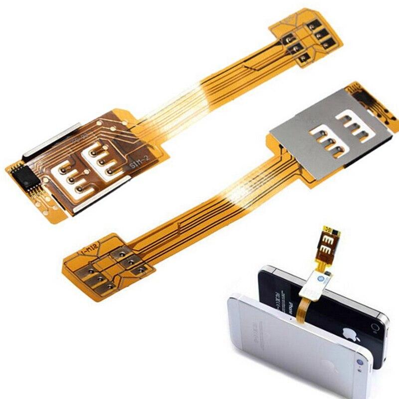 1 шт. Смартфон Сим-карты адаптера для iPhone 5/6 Портативный Dual SIM карты адаптера Converer одного ожидания Flex ленточный кабель ...