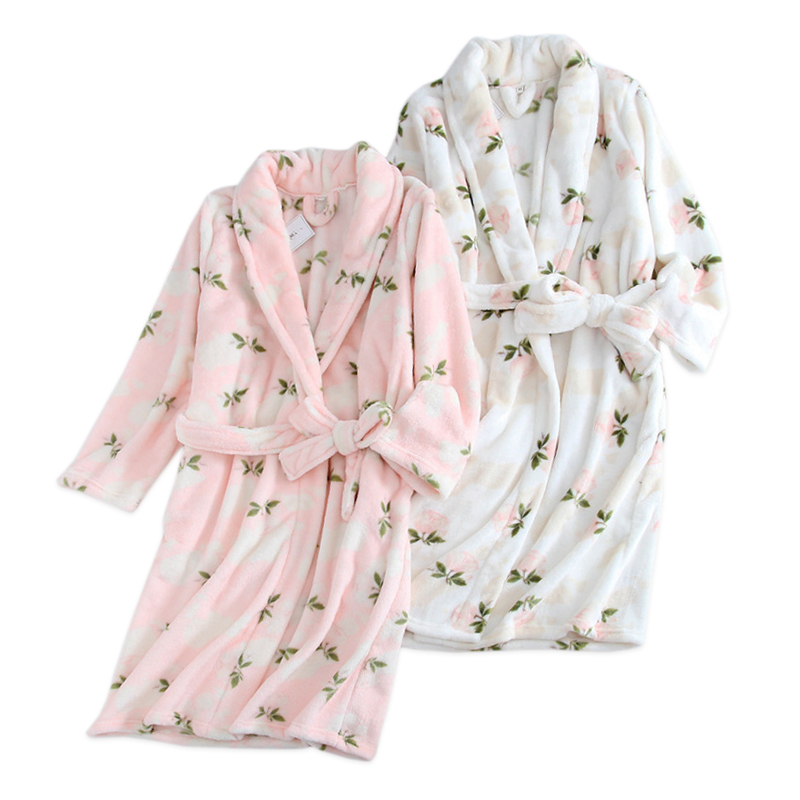 Fresh flower Winter flannel women bathrobes casual warm kimono home robes women dressing gown pyjama bride robe floral
