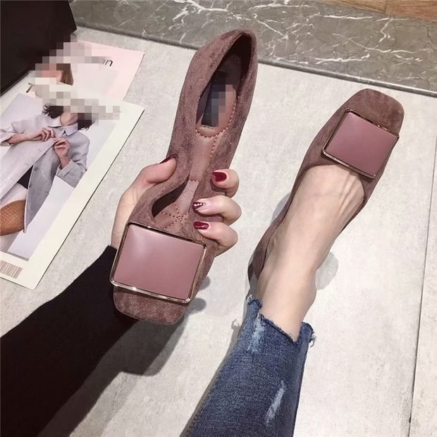 EOEODOIT Spring Autumn Flats Fashion Square Toe Fresh Color Office Lady Weekends Slip On Loafers Women Flat Heel Driving Shoes