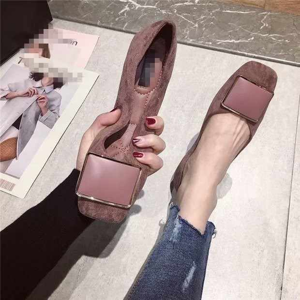 EOEODOIT Spring Flats Fashion Square Toe Fresh Color Office Lady Weekends Shoes Slip On Loafers Women Flat Heel Driving Shoes
